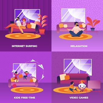 Set internet surfing, relaxation, video games.