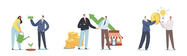 시작에 투자를 설정합니다. 기업인 캐릭터는 프로젝트, 머니 트리, 비즈니스 악수, 돈에 대한 아이디어 변경을 성장시킵니다. 개발 전략, 기업가적 발명. 만화 사람들 벡터 일러스트 레이 션