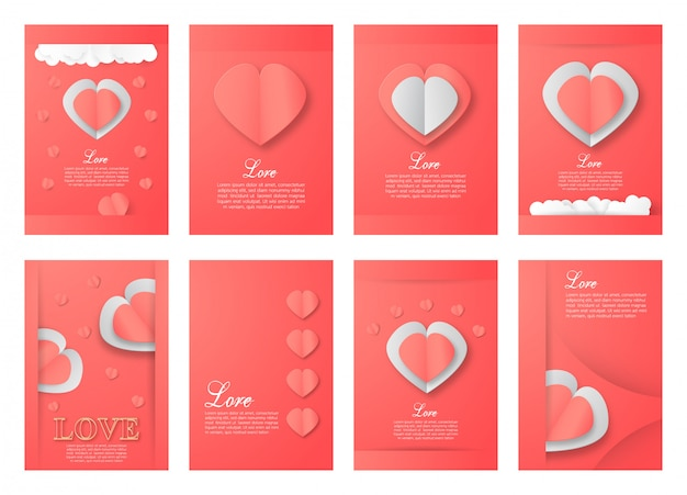 Set of invitation background in paper cut style for valentime's day. template design.