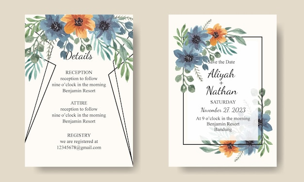 Set of invitation card watercolor blue orange florals