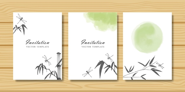 Set of invitation cards with dragonfly and bamboo branch. traditional oriental watercolor painting