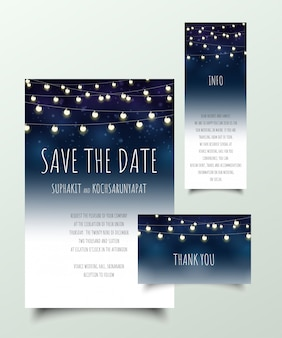 Set of invitation cards with light bulb.