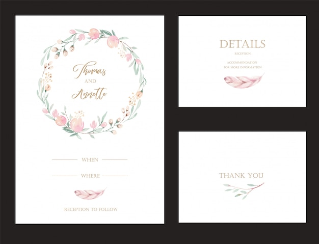 Set of invitation cards with watercolor flower protea and gold elements.