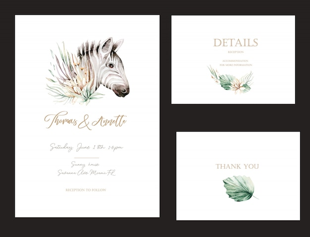 Set of invitation cards with watercolor flower savannah wild animals zebra and gold elements. wedding bouquet collection