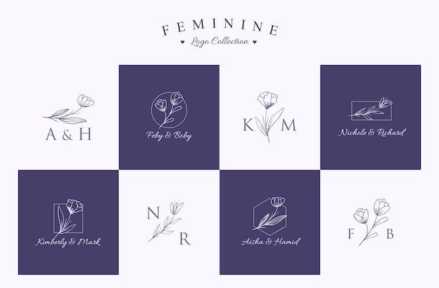 Set of invitation logo collection set