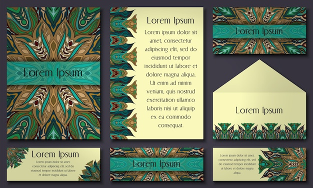 Set of invitation templates with colorful tribal mandalas