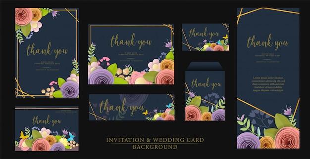 Set invitation wedding card design.
