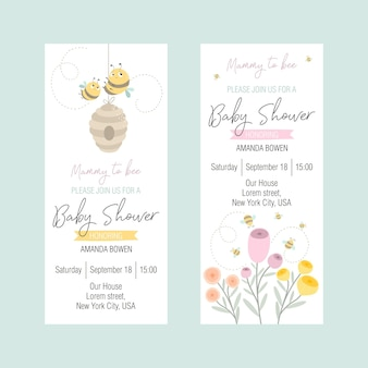 Set of invitations to a baby shower with a cute bee