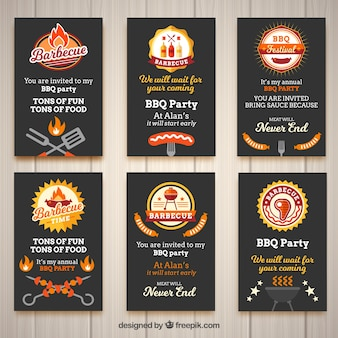 Set of invitations for a barbecue