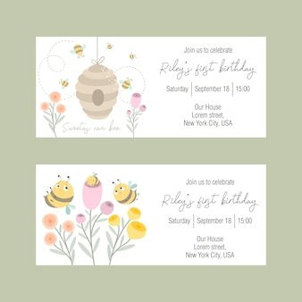 Set of invitations to a childrens holiday with a cute bee