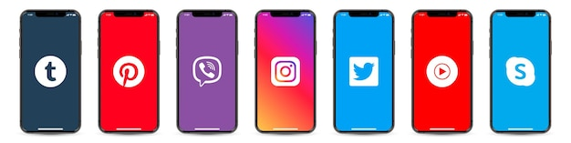 Set of iphone with social network logos