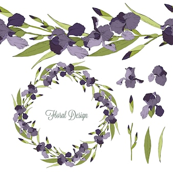 Set of iris floral elements isolated