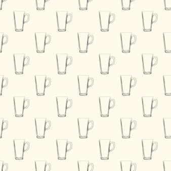 Set of irish coffee mugs seamless pattern. hand drawn glassware cup.