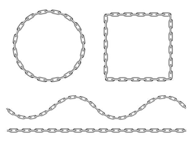 Set of iron anchor chains drawn in engraving style.