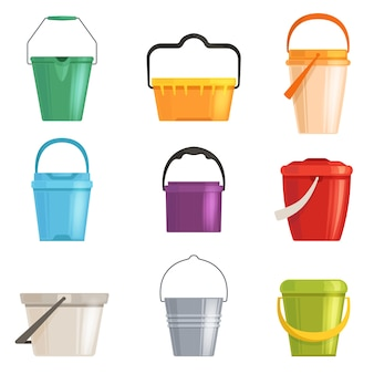 Set iron or plastic bucket, trash can. isolated