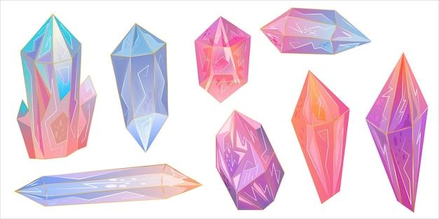 セットは美しい宝石ですクリスタルはあらゆる目的のための優れたデザインです虹の質感