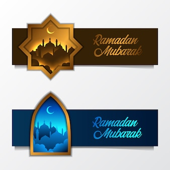 Set of islamic banner with mosque silhouette for ramadan
