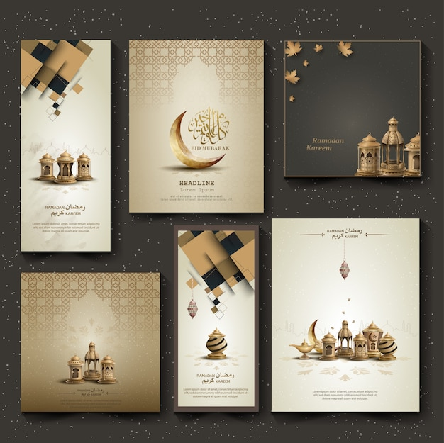 Set of islamic greeting brochure card design with lanterns and crescent