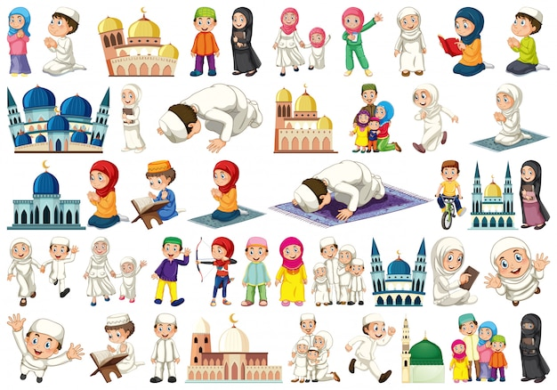 Set of islamic people