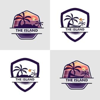 Set of island logo design vector template premium vector
