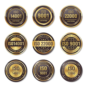 Set of iso certification seal badges
