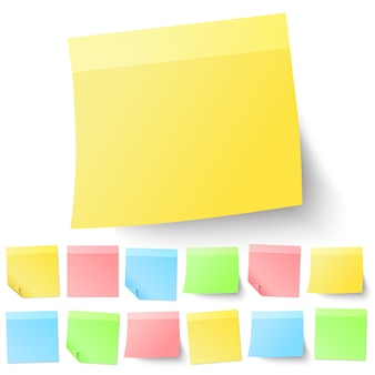 Set of isolated adhesive sticky notes.