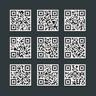 Set of isolated barcode qr code label vector