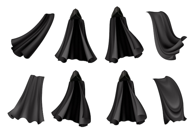 Set of isolated black cloak s with realistic gowns of death costume for halloween