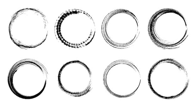 Set of isolated black grunge ink brush round frames