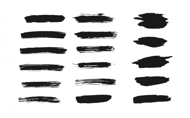 Set of isolated black thick ink brush strokes