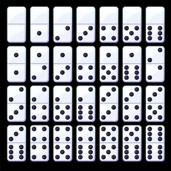 Set of isolated black and white classic dominoes.