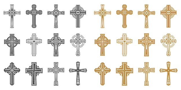 Set of isolated black and yellow religion cross