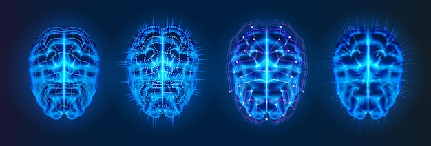 Set of isolated blue glowing brains with neural connection lines