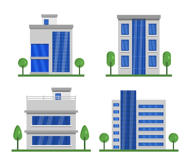 Set of isolated buildings clipart