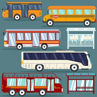 Set of isolated bus flat style