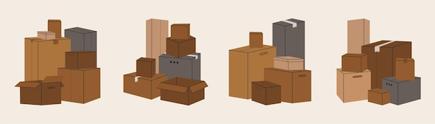 Set of isolated cardboard boxes for moving.