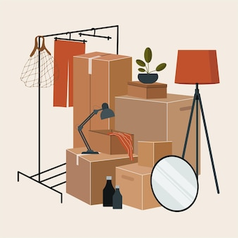 Set of isolated cardboard boxes for moving