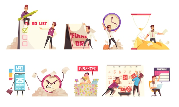 Set of isolated cartoon compositions on theme of time management planning schedule timetable and deadline
