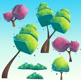 Set of isolated cartoon natural futuristic trees