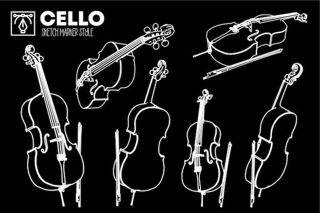 Set of isolated cello views. marker effect drawings.