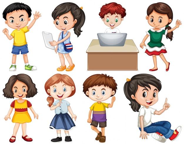 Insieme di bambini isolati in diverse azioni