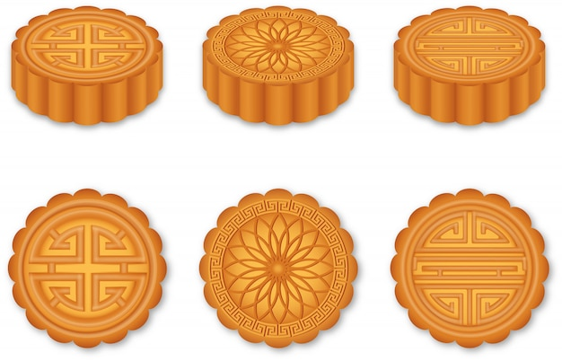 Set of isolated chinese mooncakes