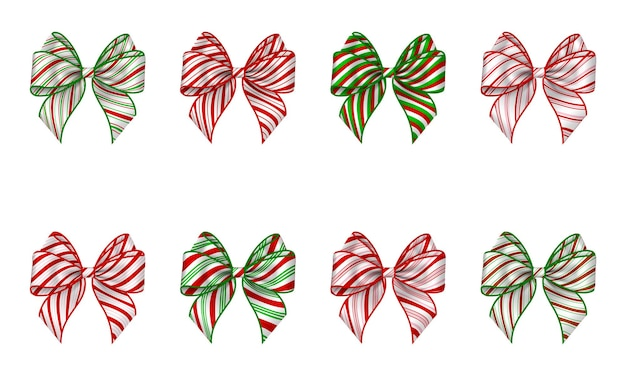 Set of isolated christmas bows with candy cane texture striped bow for christmas decorations