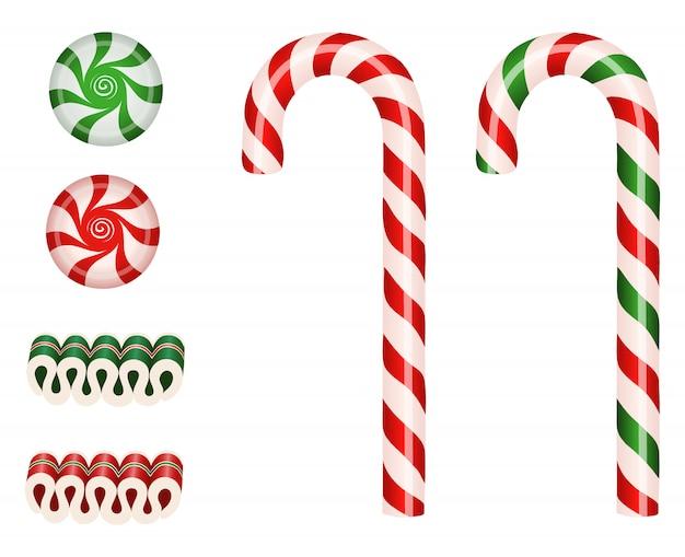 キャンディーケーン、リボンキャンディー、スターライトペパーミントキャンディーで孤立したクリスマスキャンディーをセット