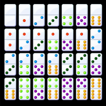 Set of isolated colored classic dominoes. collection of bright domino chips.