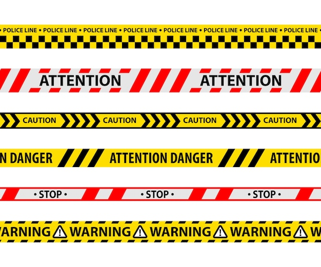 Set of isolated danger tape or yellow ribbon