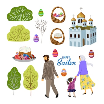 Set of isolated elements for design on an easter theme. flat