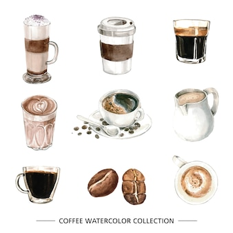 Set of isolated elements of watercolor coffee