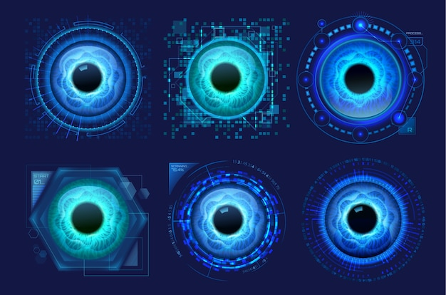 Set of isolated eyes scanner isolated on blue