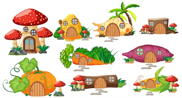 Set of isolated fairy tale houses cartoon style on white background